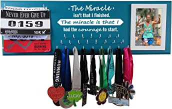 Running On The Wall Medal Hanger Display and Race Bibs The Miracle Isn't That I Finished, The Miracle is That I HAD The Courage to Start Picture Frame Design