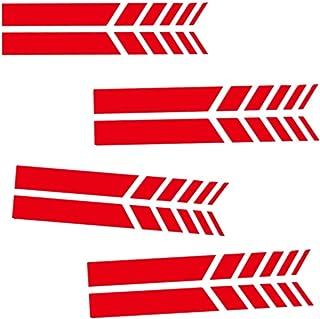 Fully 4 Paare(8stücke) Reflektiert Seitenspiegel Rückspiegel Aufkleber Sticker Folien Tattoo für Auto Motorrad Wasserdicht (rot, 20X2CM/7.87X0.78)