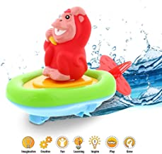 DolliBu Boat Racer Buddy, Fun Educational Bath Toy Finger Puppet Pull and Go Water Racing Pal for Shower Pool Bathtub Swim Hard Surfaces for Baby Toddler and Boy - 6 Inch - 3 in 1 Game red 290dolli