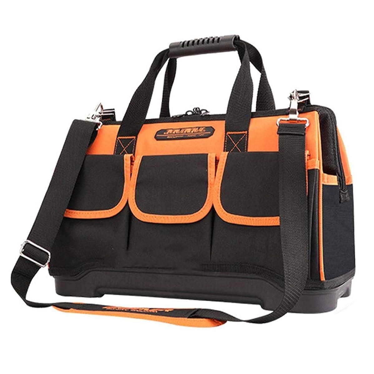 援助怠な皮ホームDIY&機器ストレージの太いベース、16インテリア/エクステリアポケット、ショルダーストラップ、と多機能防水ツールバッグ 折りたたみトート (色 : オレンジ, サイズ : 20inch)