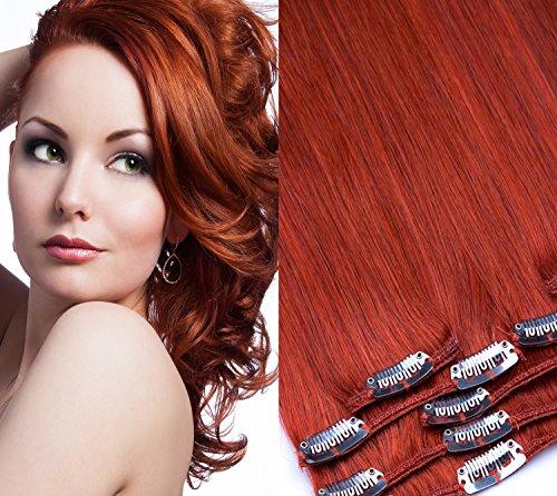 Clip In Extension Set 7 Teile glatt 45cm Haarverlängerung Haarteil 100% Remy Echthaar Clip in Hair Extension von GlamXtensions in Farbe: 640 kupfer