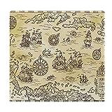 Cojines de Suelo Cuadrados,Cojín de Asiento de cojín de Silla,Antiguo Mapa Pirata del mar Caribe con Barcos,Sentado para Oficina,hogar,Suave Espesar