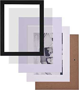 """Gallery Photo Frames Wall Kit, Set of 7 Hanging Template Picture Frames with Multi Size, One 8"""" x 10"""", Two 5"""" x 7"""