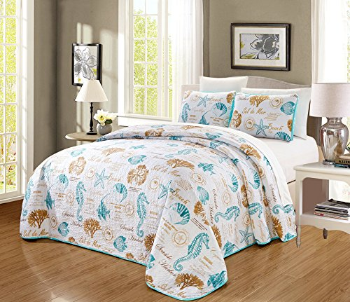 3-Piece Tropical Coast Seashell Beach (California) Cal King Oversize Bedspread Coverlet Fine Printed Bed Cover Set. Sea Shells, Sea Horse, Starfish etc. (Aqua Blue, Sand, White)
