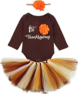 My First Thanksgiving Day Newborn Baby Girl Thanksgiving Outfits Letter Printed Bodysuit+Lace Tutu Dress+Headband 3Pcs Set