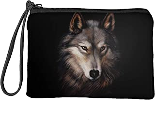 Coloranimal Grey Wolf Pattern Canvas Coin Purse Small Pouches Cute Tote Clutch Change Wallet Organizer Makeup Bags Card Ho...