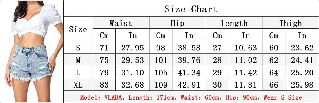 Glkaend New Women's Ripped Denim Shorts Wash Distressed Hot Shorts,St07,XL