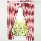 HongYa patrón de juego de cuadros de cortinas. Cocina cortinas cortinas con alzapaños, poliéster, rojo, H/B: 120/80 cm