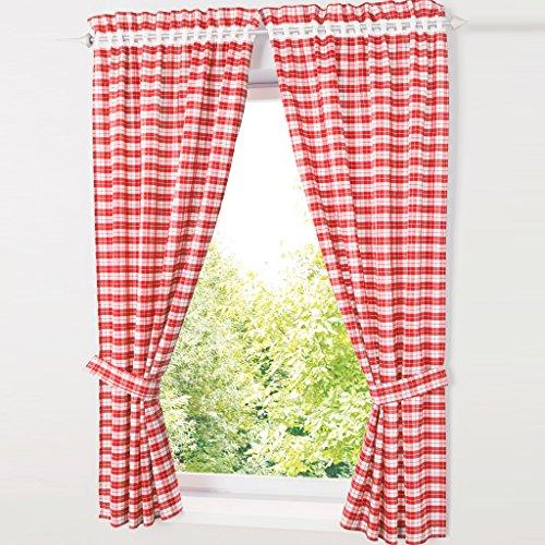 hongya patrón de juego de cuadros de 4cortinas. Cocina cortinas cortinas con alzapaños, poliéster, rojo, H/B: 120/80 cm