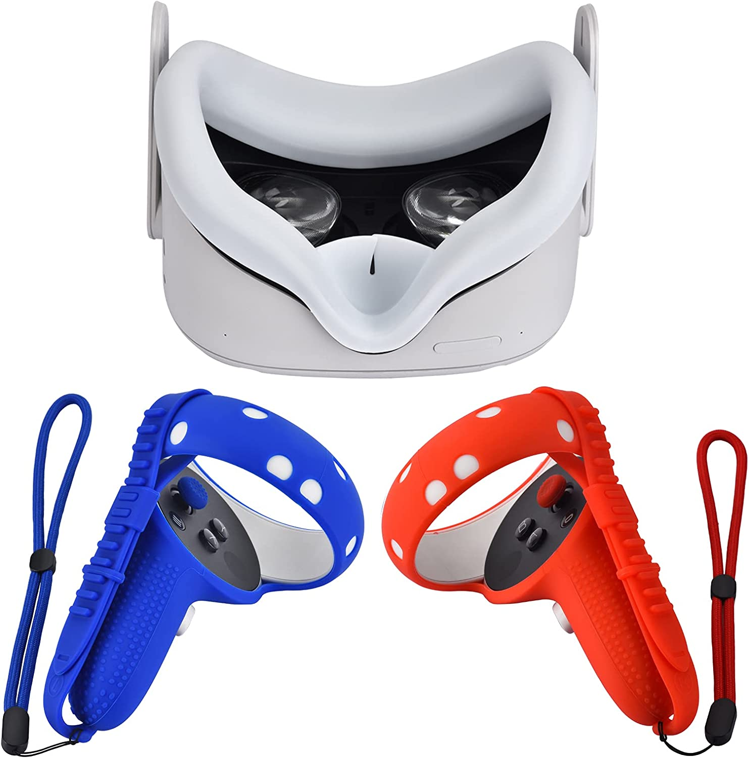 XIAOGE Silicone Controller Grip Cover for Oculus Quest 2 with Face Cover Combo, VR Headset Accessories Sweatproof Anti Collision (Blue Red White)