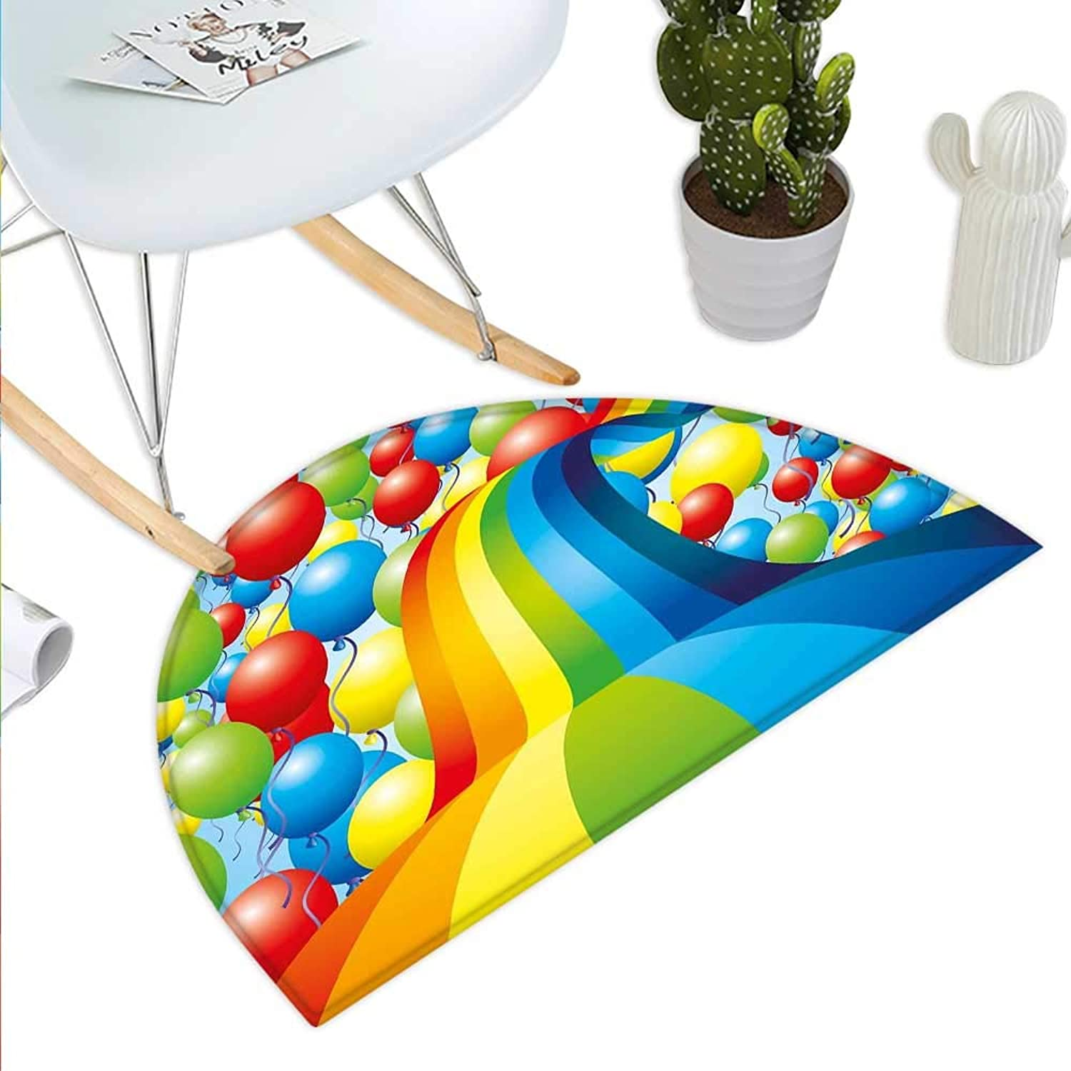 Birthday Semicircle Doormat Many Vibrant Balloons Wavy Rainbow Ribbons Festive Celebration Mood Special Event Halfmoon doormats H 43.3  xD 64.9  Multicolor