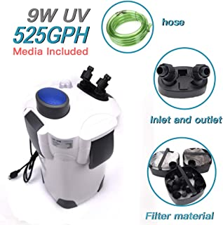 Polar Aurora 4-Stage External Canister Filter with 9-watt Uv Sterilizer, 525 GPH with Builtin Pump Kit Canister