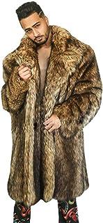 Men Faux Fur Teddy Coat Winter Warm Fur Jacket Sleeve Long Overcoat Parka Outerwear,Brown,6XL