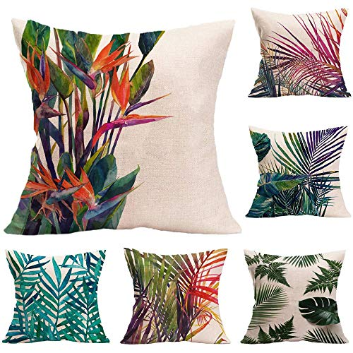 Decorative Square Throw Pillow Cases for Sofa Bedroom Cushion Covers for Garden Furniture with Invisible Zip Set Pack of 5@45cm x 45cm