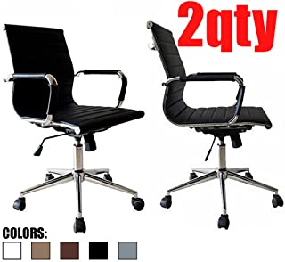 2xhome - Set of 2 Black Modern Mid Back Ribbed PU Leather Swivel Tilt Adjustable Chair Designer Boss Executive Management Manager Office Conference Room Work Task Computer
