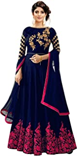 Vaani Creation Women's Blue Satin Semi-stitched Havy Embroidered work Gown With Duptta (Free-Size)