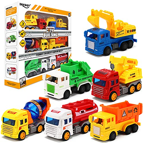 INKPOT 6 Pack Toddler Trucks toys for Boys 1 2 3 4 year old, Friction Powered City Service Car Fire Engine Truck,Excavator Truck,Cement Mixer Truck,Dumper,Garbage Truck,Crane Construction Vehicle Toys