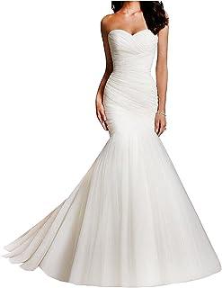 nafusenfushi Women Tulle Sweetheart Mermaid Bridal Wedding Dresses