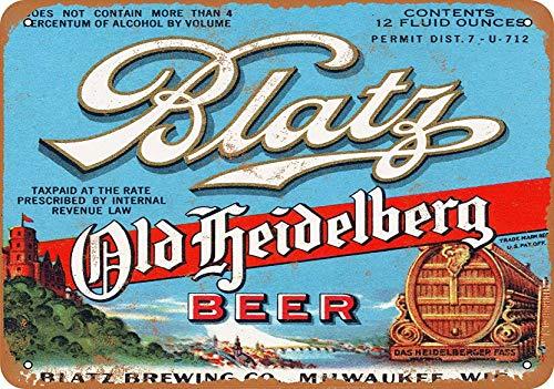 Radiancy Inc Blatz Old Heidelberg Bier Eisen Malerei Blechschild Wand Vintage Deko Poster Warnschild Deko Tide für Zimmer Café Bar Club Garten Parkplatz