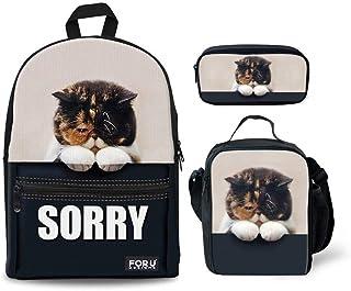 INSTANTARTS Cute Cat Backpack Set Canvas School Bag Cooler Box Pen Holder Satchel Bookbag Set