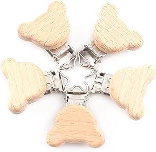 Mamimami Home 天然木製 おしゃぶり クリップ 5個 くま ブナの木 チュア ルダー 噛がため 赤ちゃんのおもちゃ ガラガラ 歯固め 出産祝い DIY アクセサリー 「FDA認可済」「BPAフリー」