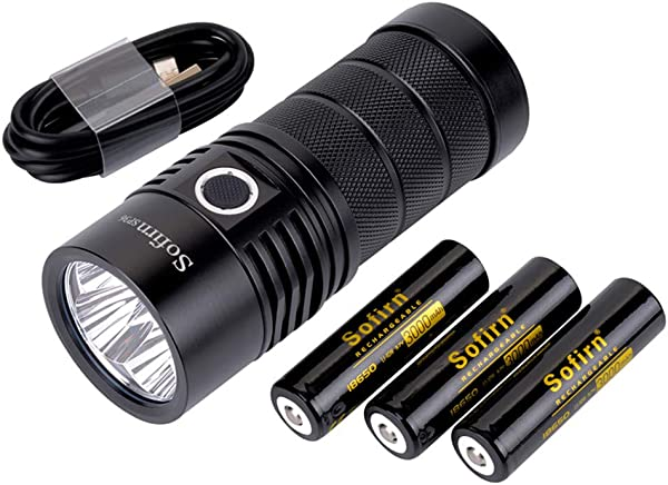 Sofirn BLF SP36 Powerful 6000 Lumen Flashlight USB C Rechargeable Cree 4 XPL2 LED Neutral White Brightest Outdoor Search Torch With Narsilm V1 2 Comes Battery And Charger