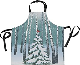 AHOMY Adjustable Apron with Pocket Birches In The Winter Forest Extra Long Ties, 27.5 x 29