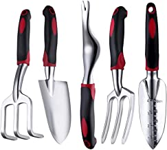 FANHAO Garden Tool Set, 5 Piece Aluminum Heavy Duty Gardening Gifts Tool Set with Non-Slip Rubber Grip for Men and Women (Black/Red)