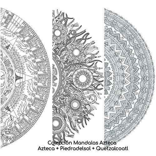Mandalas Para Colorear Adultos De Paint&Relax. Colección Entera Azteca. Incluye 3 Mandalas Gigantes de 50 x 70 cms cada uno: Piedra del Sol + Quetzacoatl + Azteca.