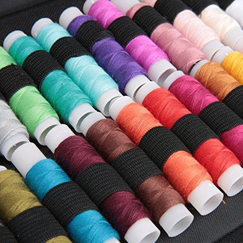 Luxebell裁縫セットソーイングセット24色縫い糸あり携帯式ポータブルミシンアクセサリー小学生家庭科男女兼用家庭用大人用裁縫道具セット(ブラック収納バッグ付き)