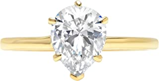 2.0 ct Brilliant Pear Cut Solitaire Highest Quality Moissanite Ideal VVS1 D 6-Prong Engagement Wedding Bridal Promise Anniversary Ring in Solid Real 14k Yellow Gold for Women