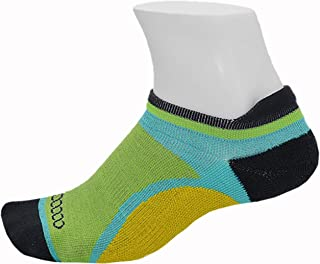 Women's Athletic Blister Free Socks | No Smell Silver Fiber | Green & Yellow