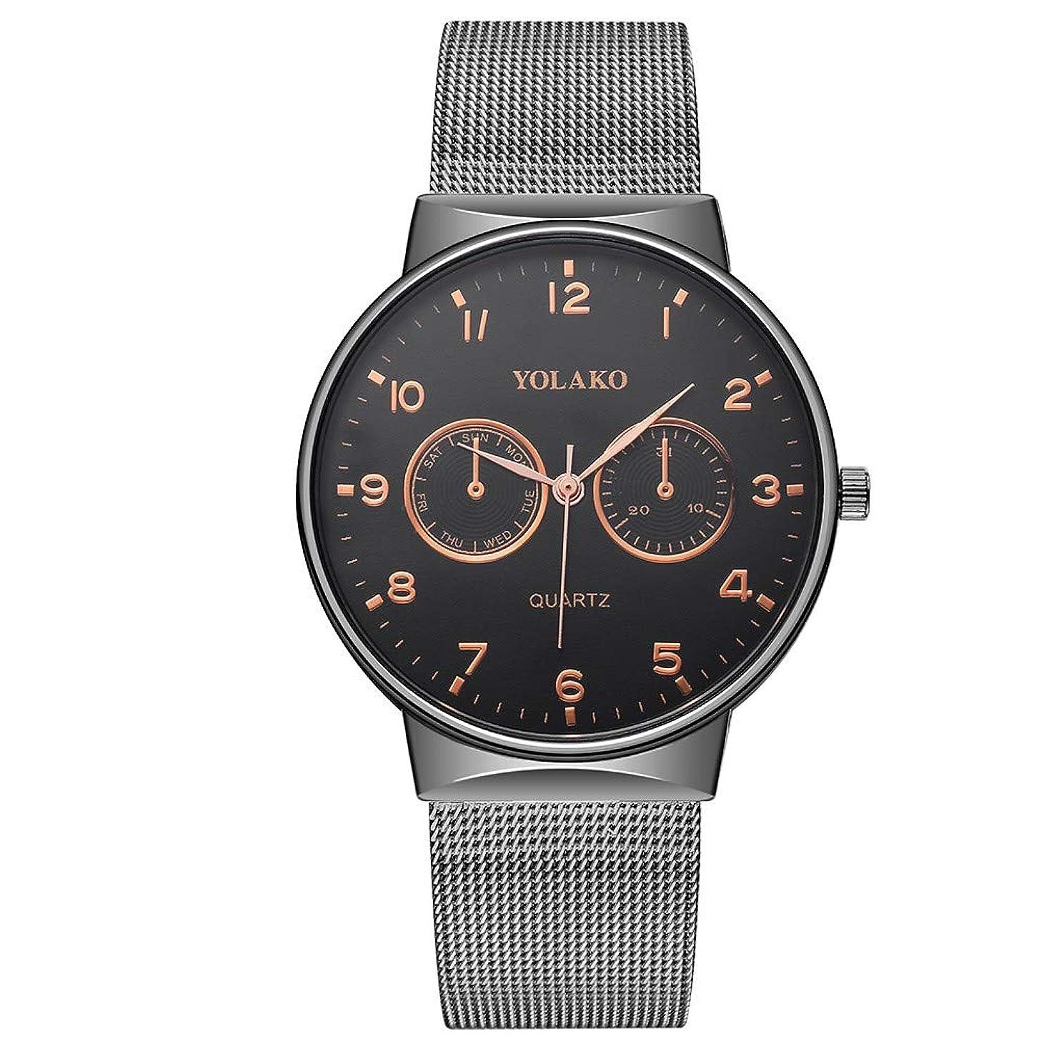 Guartz Watches for Men Digital Under 10 Dollars ? YOLAKO Men's Quartz Stainless Steel Band Newv Strap Watch Analog Wrist Watch