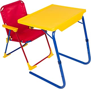 Table-Mate 4 Kids Folding Desk and Chair Set for Eating, Art & Activities for Toddlers and Children with Portable Carry Case (Red/Blue/Yellow)