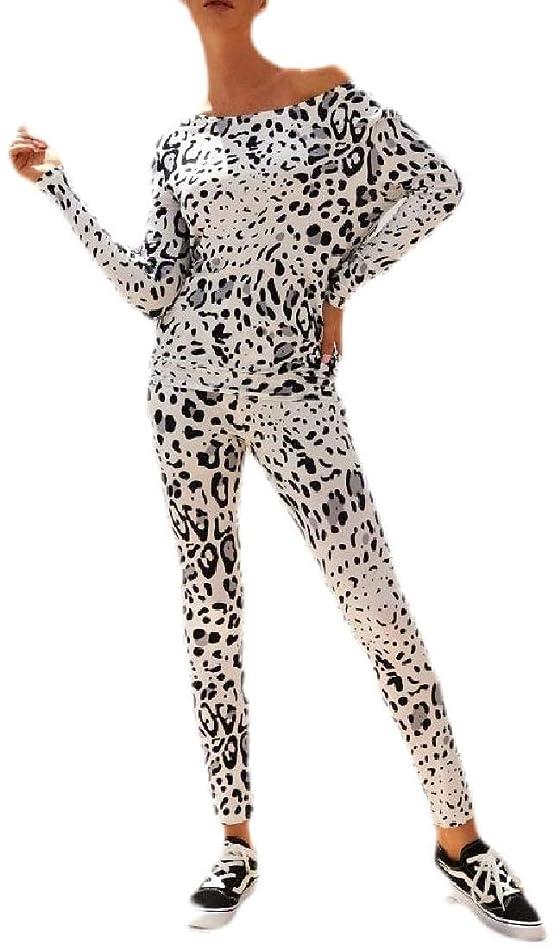 パット後退する魔術師女性斜めショルダー迷彩プリントトップパンツ カジュアルトラックスーツセット