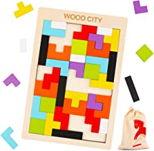 Wooden Tetris Puzzle for Toddlers 3 Years Old, WOOD CITY Tangram Jigsaw Puzzle, Brain Teasers Toy, Stem Toys with Colorful 3D Russian Blocks,Montessori Educational Gift for Kids & Adults (40 PCS)