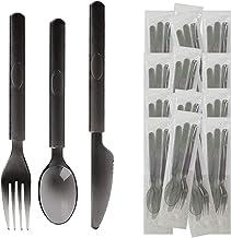 مجموعة أدوات مائدة بلاستيكية للاستعمال مرة واحدة ملفوفة بشكل فردي مع سكين ملعقة شوكة من أجل الخروج، والتسليم، والمطاعم، وا...