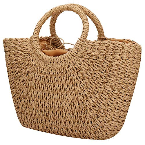 Women Summer Beach Bag, Straw Handbag Top Handle Big Capacity Travel Tote Purse Hand Woven Straw Large Hobo Bag (Brown)