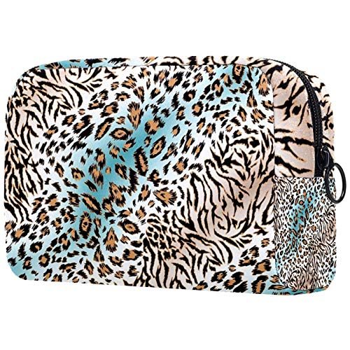 Cosmetic Bag Womens Waterproof Makeup Bag for Travel to Carry Cosmetics Change Keys etc Yellow Gradient Leopard