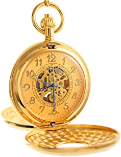 Ogle Vintage Roman Gold Copper Double Open Cover Chain Fob Self Winding Automatic Mechanical Pocket Watch/Black Dial