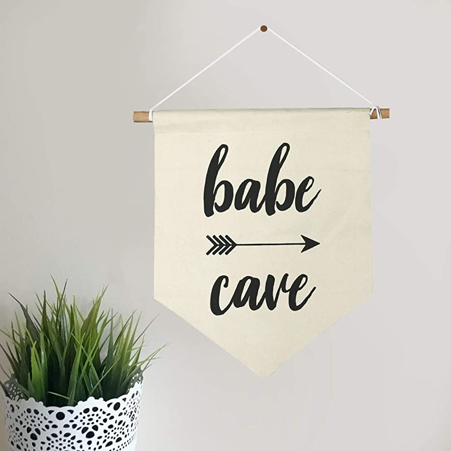 Babe Cave Wall Banner Sign Housewarming Present Funny Quote Gift Hanging Wall Flag Canvas Banner Single Pennant Home Decor