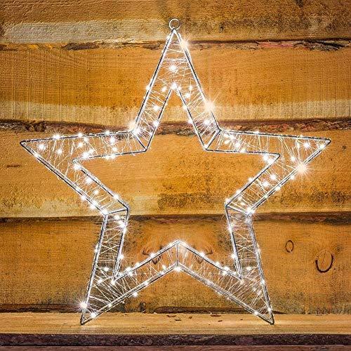 Estrella de alambre 3D de 58 cm con 160 LED blanco cálido de la exhibición de la luz de la decoración de Navidad