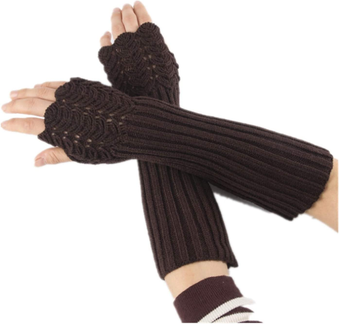 JSJJAWS Winter Gloves Unisex Men Ladies Fingerless Gloves Winter Warm Soft Knitted Mittens (Color : Dark Brown)