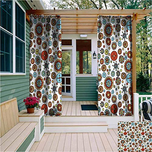 Colorful Outdoor Privacy Curtain for Pergola Hand Drawn Doodle Style Cheerful Flowers Design Abstract Circular Graphic Pattern Home Fashion Machine Washable Multicolor W108 x L84 Inch