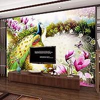カスタム3D壁壁画壁紙花鳥孔雀リビングルームソファテレビ背景写真壁紙-150x120cm
