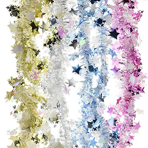 Homeford Winter Star and Snow Tinsel Garlands, 9-Feet, 4-Piece