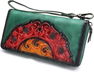 Leather Wallet for Women Long Wristlet Purse Vintage Embossing Genuine Cowhide Handmade Clutch