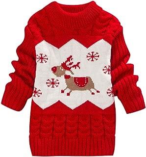 Toddler Baby Girls Boy Long Sleeve Sweater Knit Christmas Pullover Deer Print Crochet Tops Winter Warm Tee