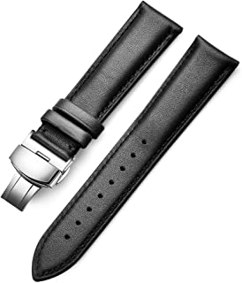 18mm Watch Band, 20mm Watch Band, 22mm Watch Band, Genuine Calf Leather Black/Brown Watch Strap with Stainless Deployment Clasp