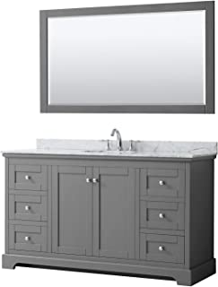 Wyndham Collection Avery 60 Inch Single Bathroom Vanity in Dark Gray, White Carrara Marble Countertop, Undermount Oval Sink, and 58 Inch Mirror